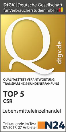 Wir sind unter den Top 5 in der Kategorie Corporate Social Responsibility (CSR) im Lebensmitteleinzelhandel