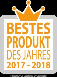 Wir wurden bei der Verbraucherumfrage als Bestes Produkt des Jahres 2017 – 2018 ausgezeichnet