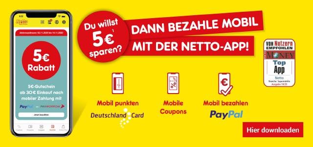 Du willst 5€ sparen? Dann hol dir doch die Netto-App!